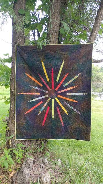 Firework modern quilt using Island Batik fabrics