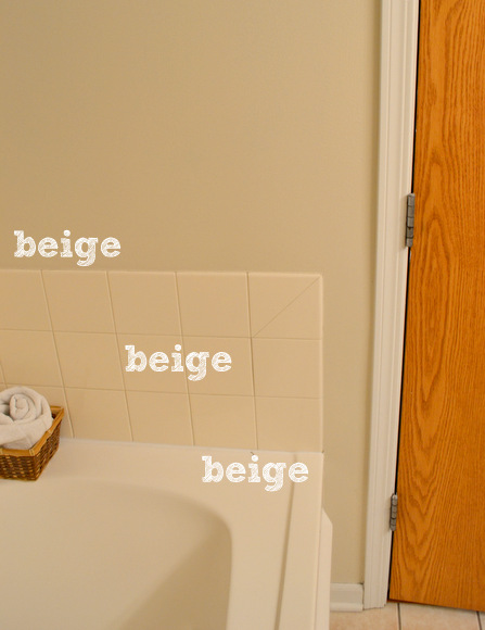 Bye bye beige in the bathrooms diy playbook for Beige white paint color