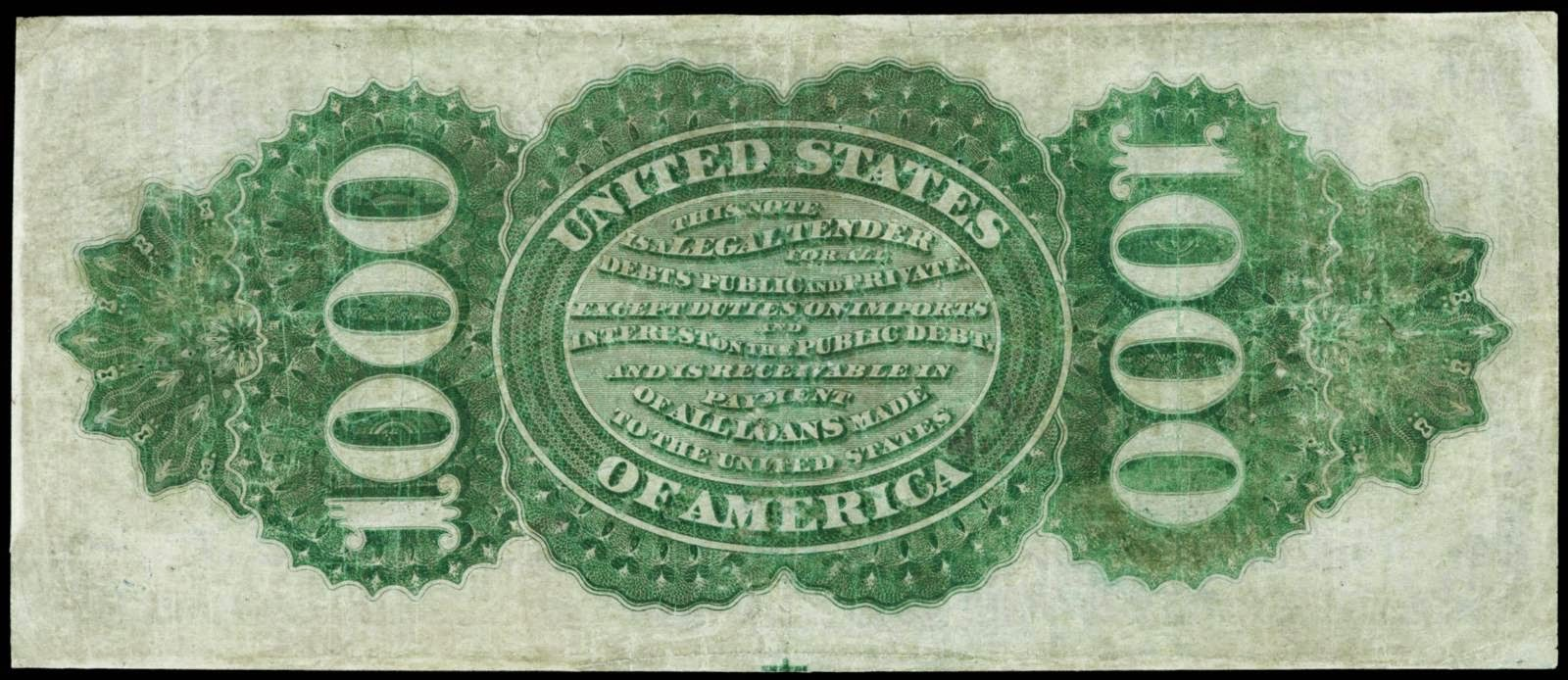 United States Paper Money $1000 Legal Tender Note 1863