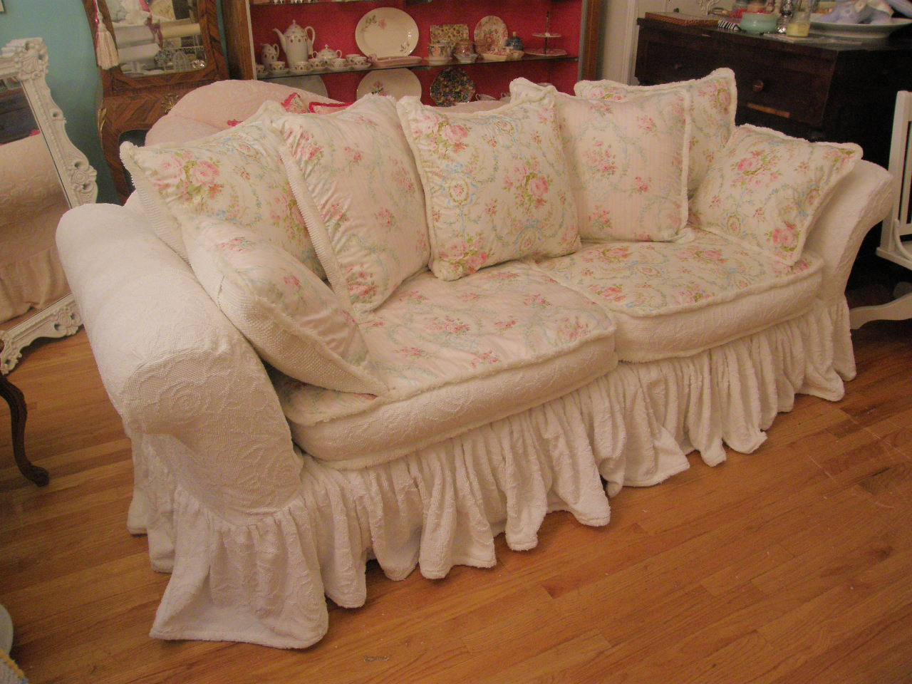 Rose Sofa Slipcover Montero Microfiber Convert A Couch Sleeper Bed Vintage Chic Furniture Schenectady Ny Shabby