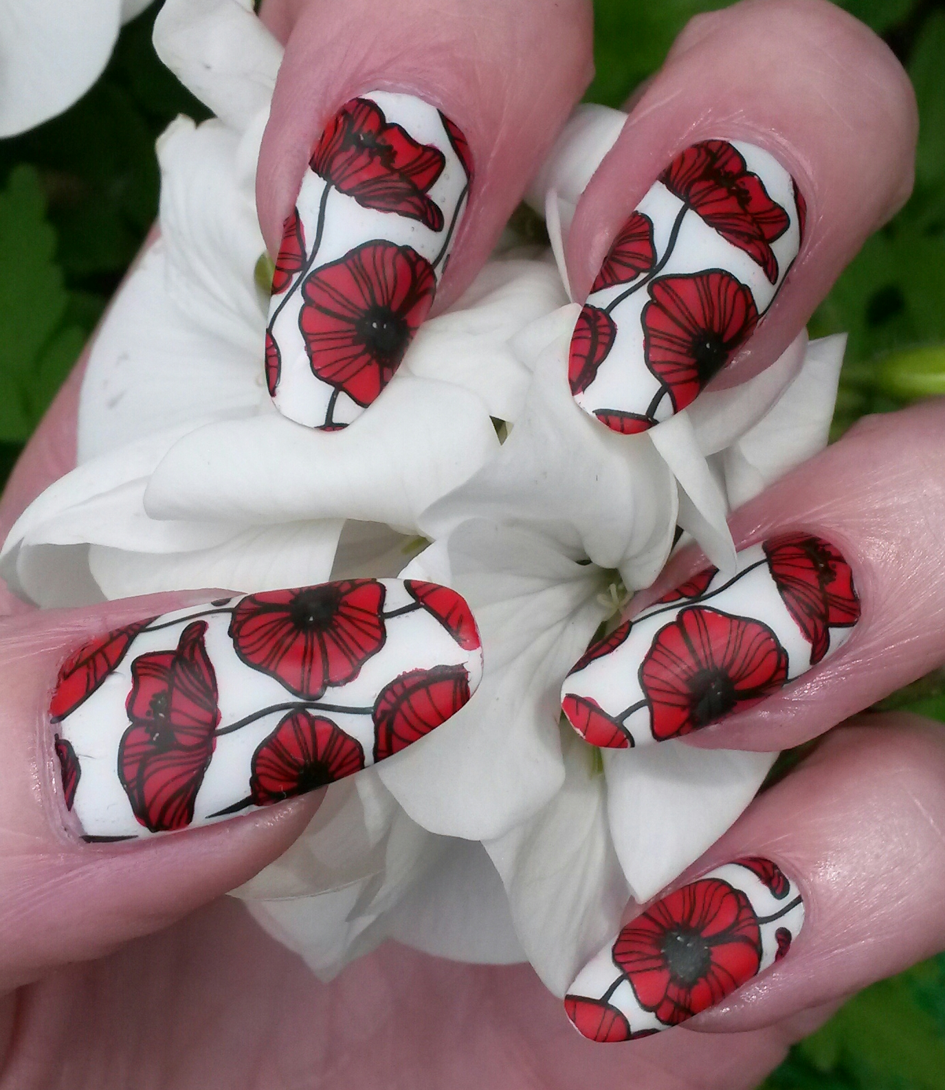 Bite No More: Poppy Stamped Nails