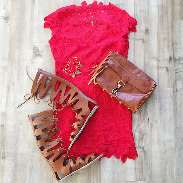 red dress cognac tall gladiator sandals