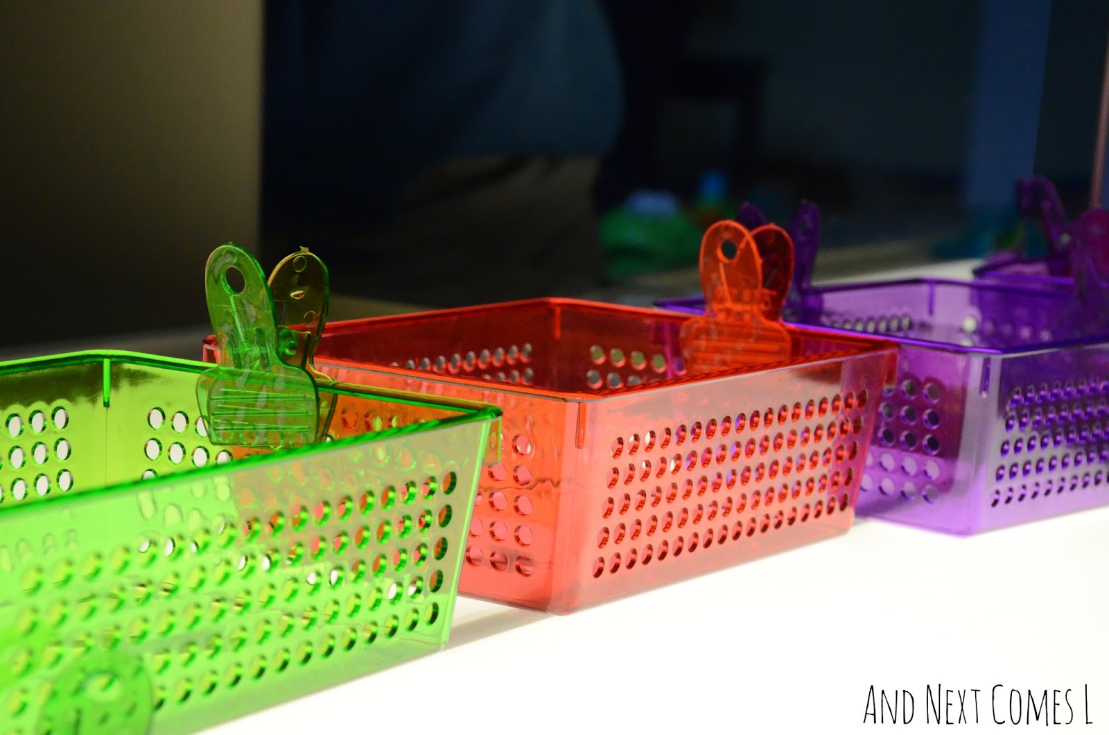 Color matching clips and containers on the light table from And Next Comes L