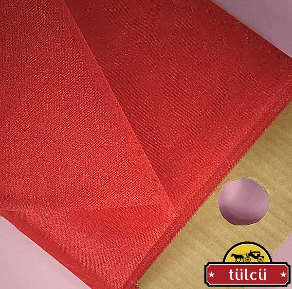 Kırmızı Kristal Tül 50 Metre