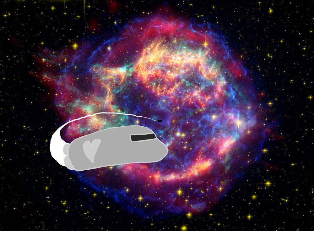 Supernovan jäänteistä poispäin lentävä avaruusalus.