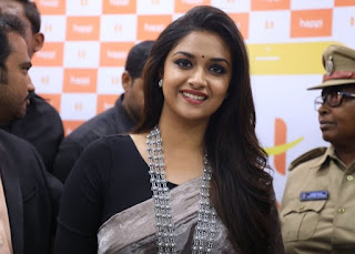 Keerthy Suresh in Saree with Cute Smile at Happi Mobile Store Launch in Guntur 1