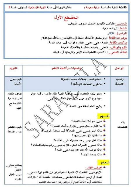 مذكرات المقطع الاول مادة التربية الاسلامية الايثار السنة الخامسة ابتدائي الجيل الثاني