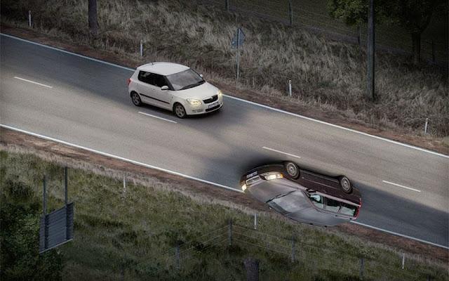 صورة خداع بصري الطريق المقلوب رأسا على عقب