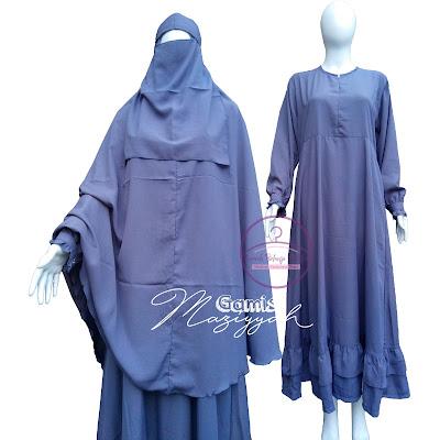 Gamis Wanita Syar'i Maziyyah Abu Tua