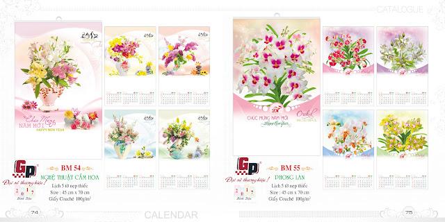 Mẫu lịch nẹp thiếc 5 tờ - Nghệ thuật cắm hoa (ảnh 1) &  Phong lan (ảnh 2)