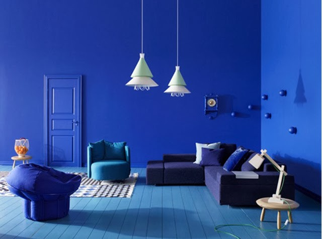 Mur bleu majorelle / Déco tendance lovers of mint