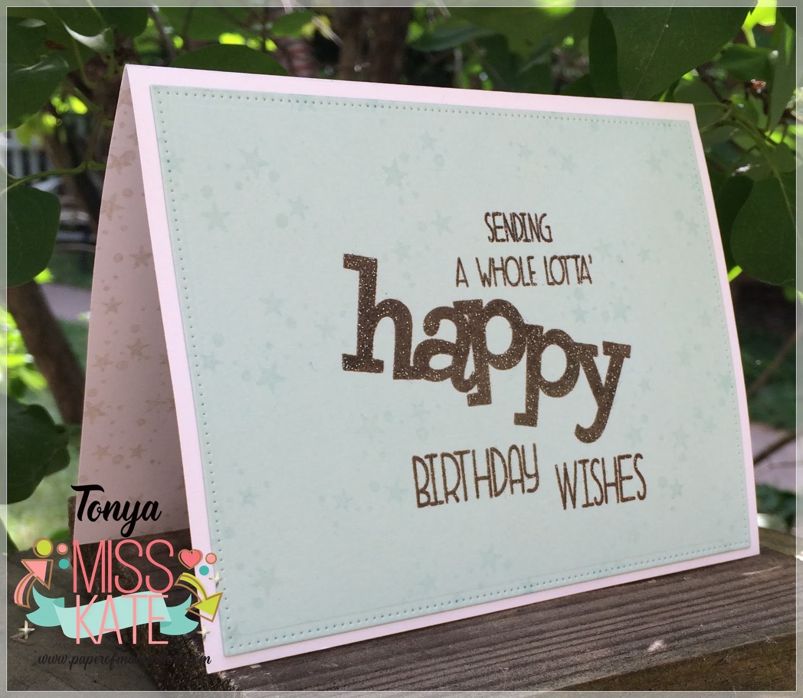 I Stamped The Panel With WPlus9s Whole Lotta Happy Stamp Set In Verasfine Sepia Ink Heat Embossed Sentiment Clear Glittered