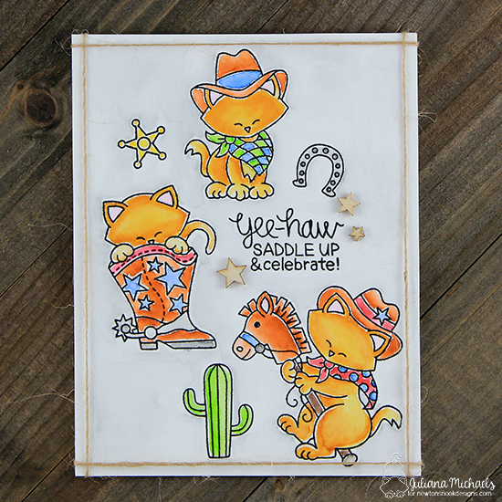 Cowboy cat card by Juliana Michaels | Newton Rides West | Cat Cowboy Western Stamp Set by Newton's Nook Designs #newtonsnook