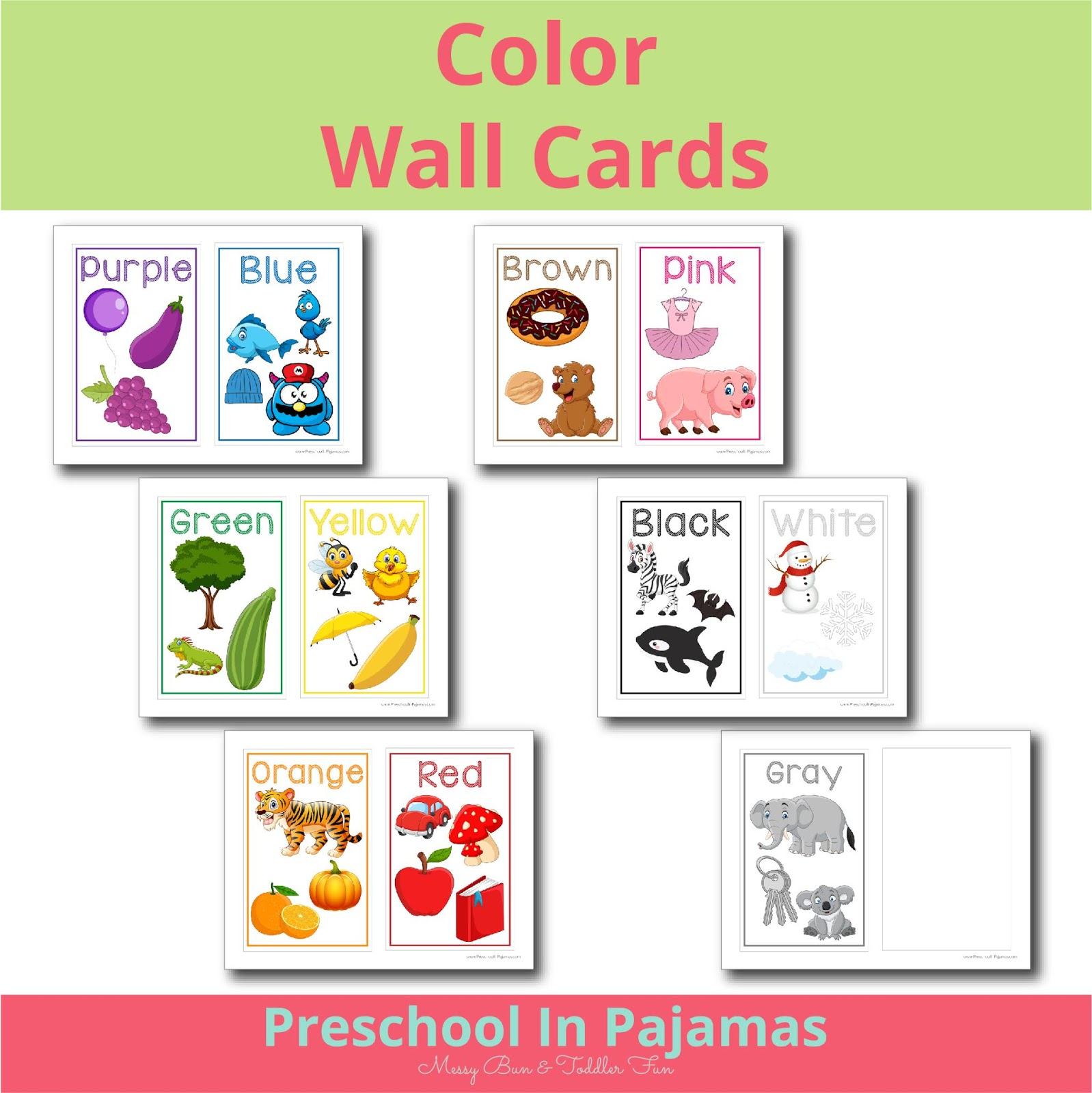 picture about Printable Colors known as No cost PRINTABLE Colour WALL Playing cards Preschool Inside Pajamas