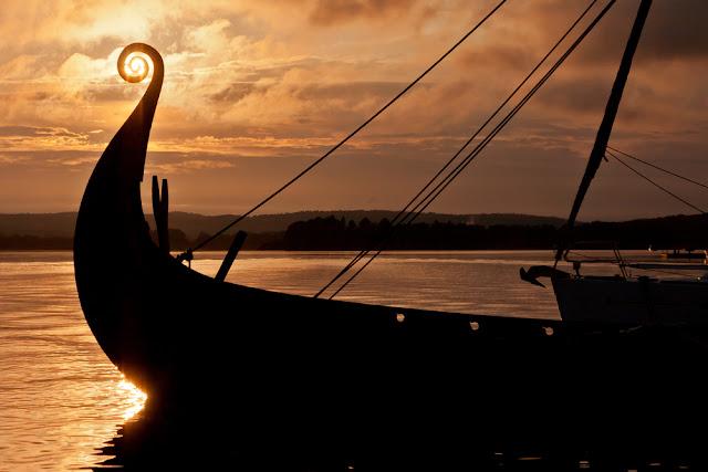 Viking ship on open water like Gunnar Marel Eggertsson's Íslendingur
