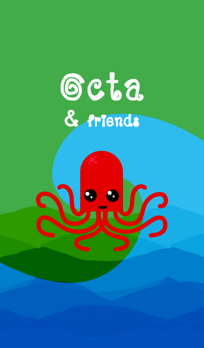 Red Octa and sea life friends