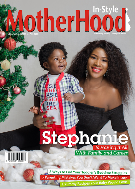 Stephanie Linus & Baby Maxwell cover  Motherhood In-Style magazine