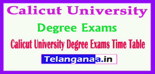 Calicut University Degree Exams Time Table 2018