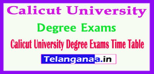Calicut University Degree Exams Time Table 2017