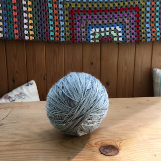 Hand-wound ball of yarn