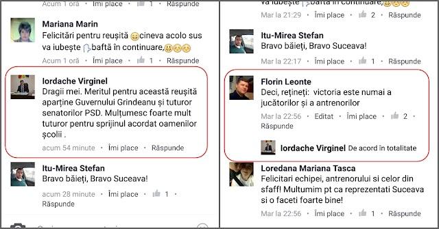 """Virginel Iordache după victoria CSU Suceava la Satu Mare: """"Meritul aparține Guvernului Grindeanu și senatorilor PSD"""". Senatorul spune că a încurcat postările"""