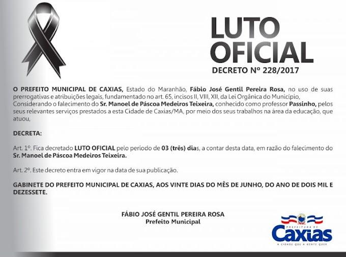 Prefeito Fábio Gentil decreta luto de três dias pelo falecimento do educador Manoel de Páscoa, o professor Passinho