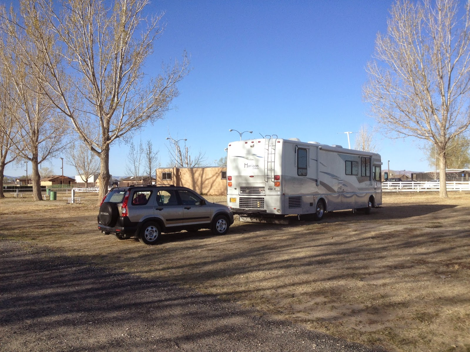 Motorhome parked at Churchill County Fairgrounds in Fallon NV