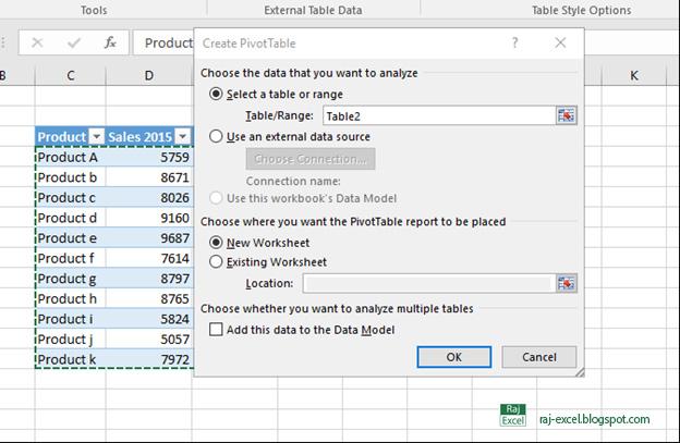 Raj Excel Create a Pivot Table