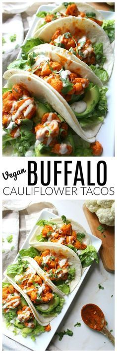 Vegan Buffalo Caulíflower Tacos