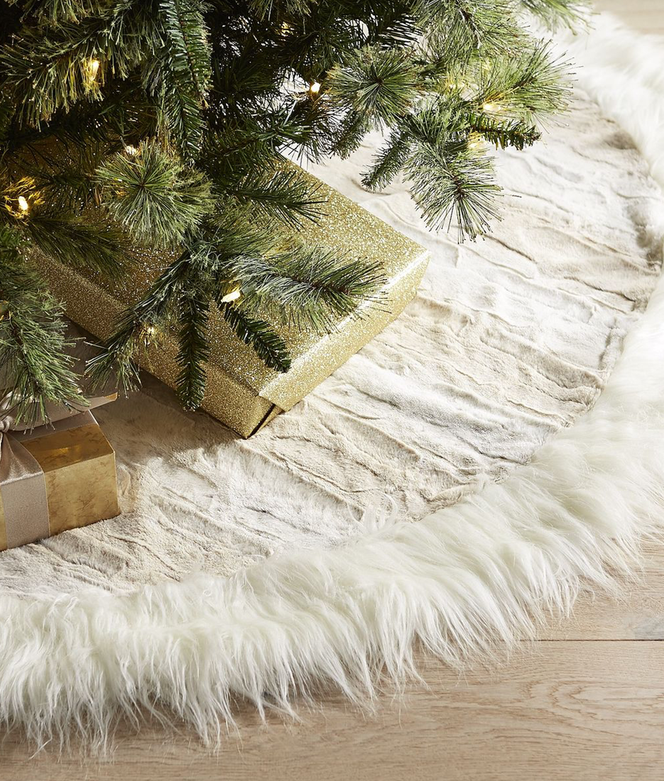 Pier One Snow Leopard Faux Fur Tree Skirt