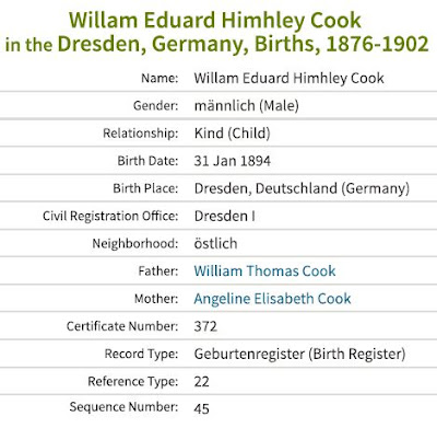 Synopsis of information from William Edward Hinchley Cooke's birth registration. (From Ancestry.co.uk)
