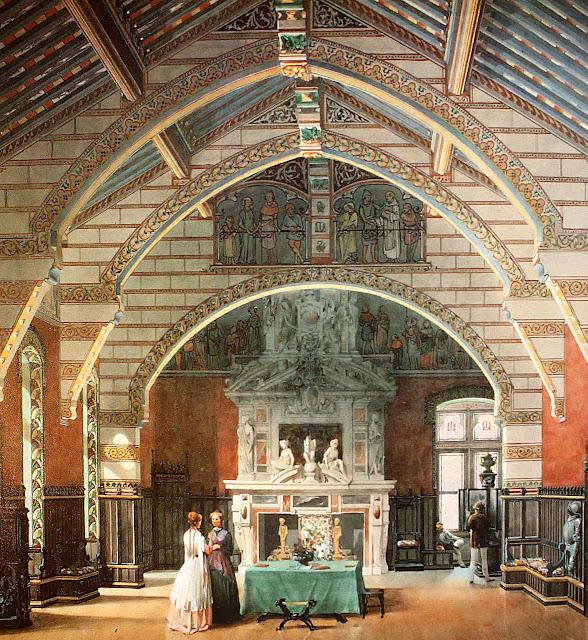 Roquetaillade, Grade Salão do castelo, aquarela de 1848.
