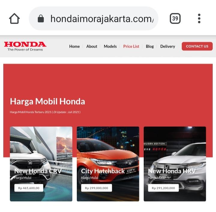 Harga Mobil Honda Terbaru dan Spesifikasinya