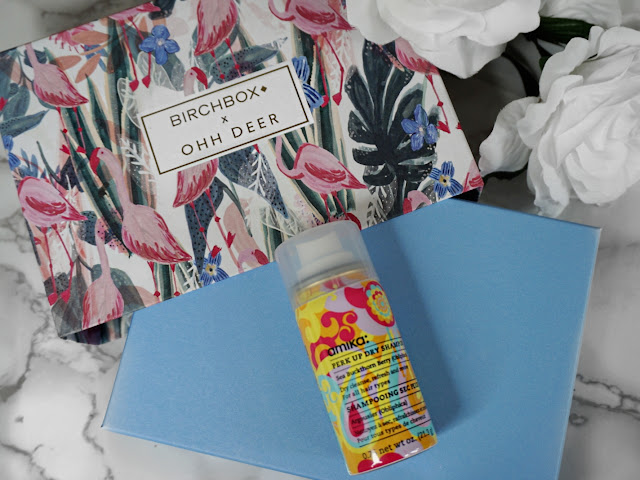 AMIKA PERK UP DRY SHAMPOO THE JANUARY 2018 BIRCHBOX BEAUTY BOX EDIT WITH OHH DEER FLATLAY