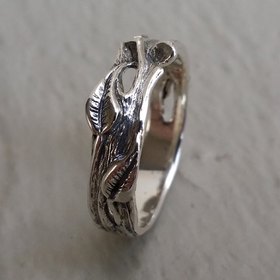 Men S Hand Sculpted Organic Leaf And Twig Wedding Band