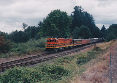 "Willamette & Pacific GP39-2 #2317 ""Tigard"" in Holbrook, Oregon, on August 23, 1998"