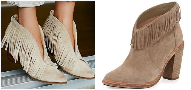 One of these pairs of fringe booties is from Coconuts by Matisse for $88 and the other is from Joie for $385. Can you guess which one is the more expensive pair? Click the links below to see if you are correct!