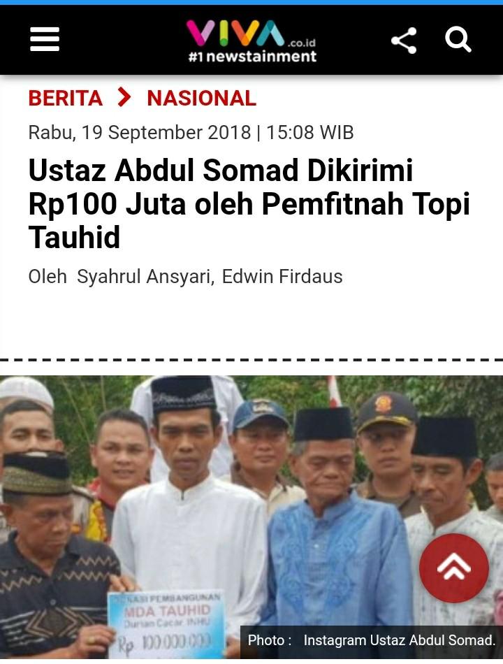 Waduh! Viva Salah Beritakan Soal Transfer 100 Juta ke Ustadz Abdul Somad