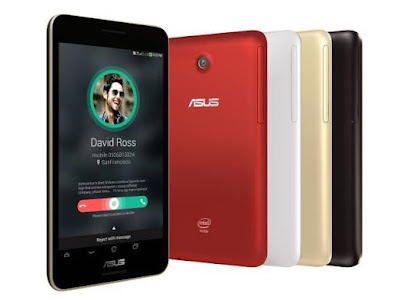 Asus Fonepad 7 FE375CG Specifications - LAUNCH Announced 2014, June DISPLAY Type IPS LCD capacitive touchscreen, 16M colors Size 7.0 inches (~67.1% screen-to-body ratio) Resolution 800 x 1280 pixels (~216 ppi pixel density) Multitouch Yes, up to 10 fingers BODY Dimensions 194.3 x 108.9 x 9.8 mm (7.65 x 4.29 x 0.39 in) Weight 299 g (10.55 oz) SIM Dual SIM (Micro-SIM, dual stand-by) PLATFORM OS Android OS, v4.4.2 (KitKat) CPU Quad-core 1.83 GHz Chipset Intel Atom Z3560 GPU PowerVR G6430 MEMORY Card slot microSD, up to 64 GB (dedicated slot) Internal 8/16 GB, 1 GB RAM CAMERA Primary 5 MP Secondary 2 MP Features Geo-tagging, touch focus, face detection Video 720p NETWORK Technology GSM / HSPA 2G bands GSM 850 / 900 / 1800 / 1900 - SIM 1 & SIM 2 3G bands HSDPA 850 / 900 / 1900 / 2100 Speed HSPA 42.2/5.76 Mbps GPRS Yes EDGE Yes COMMS WLAN Wi-Fi 802.11 b/g/n, hotspot GPS Yes, with A-GPS, GLONASS USB microUSB v2.0 Radio No Bluetooth v4.0 FEATURES Sensors Accelerometer, proximity, compass Messaging SMS(threaded view), MMS, Email, Push Mail, IM Browser HTML5 Java No SOUND Alert types Vibration; MP3, WAV ringtones Loudspeaker Yes, with stereo speakers 3.5mm jack Yes BATTERY  Non-removable Li-Po battery (15 Wh) Stand-by  Talk time Up to 10 h (multimedia) Music play  MISC Colors Black, White, Red, Gold  - MP3/WAV/WMA/AAC player - MP4/H.264 player - Document viewer - Photo viewer/editor - Voice memo/dial