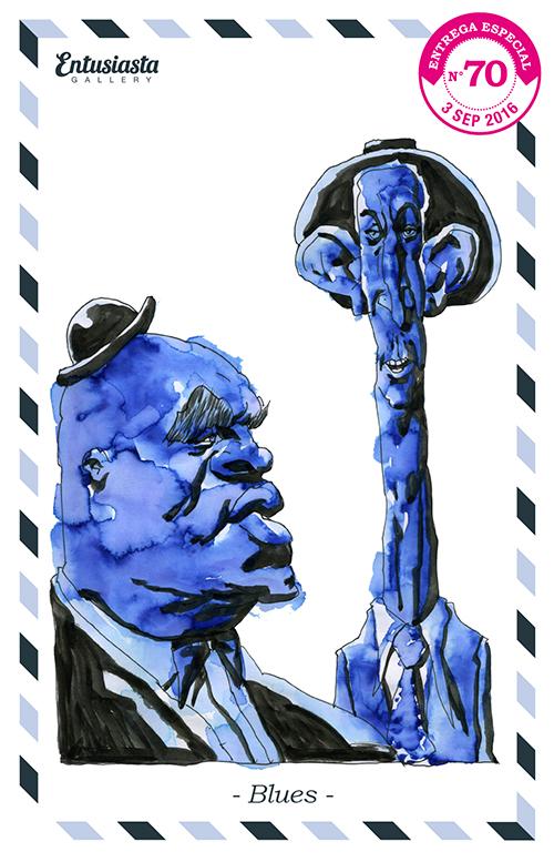 Músicos de blues. Dibujo por David Pugliese www.davidpugliese.com