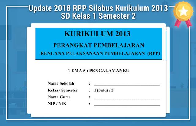 Update 2018 RPP Silabus Kurikulum 2013 SD Kelas 1 Semester 2