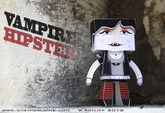 Papercraft imprimible y armable de un Vampiro Hipster / Vampire Hipster. Manualidades a Raudales.
