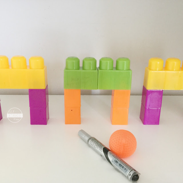 use duplo or mega blocks for this fun CVC Words leanring game