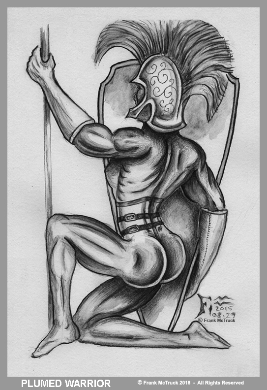 Frank McTruck ink wash illustration art  'Plumed Warrior'
