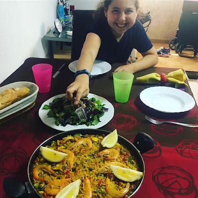 arroz de marisco, comida familiar, Alejandra tiene hambre,