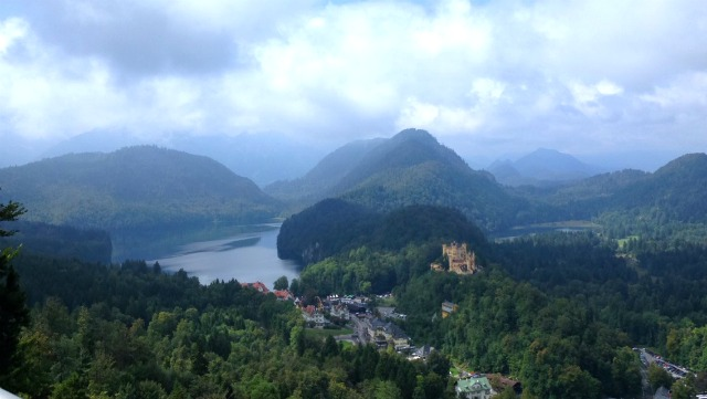 Neuschwanstein castle and hohenschwangau castle. View of landscape surrounding the castles