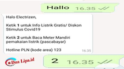 Cara lapor angka meteran listrik PLN dengan whatsapp