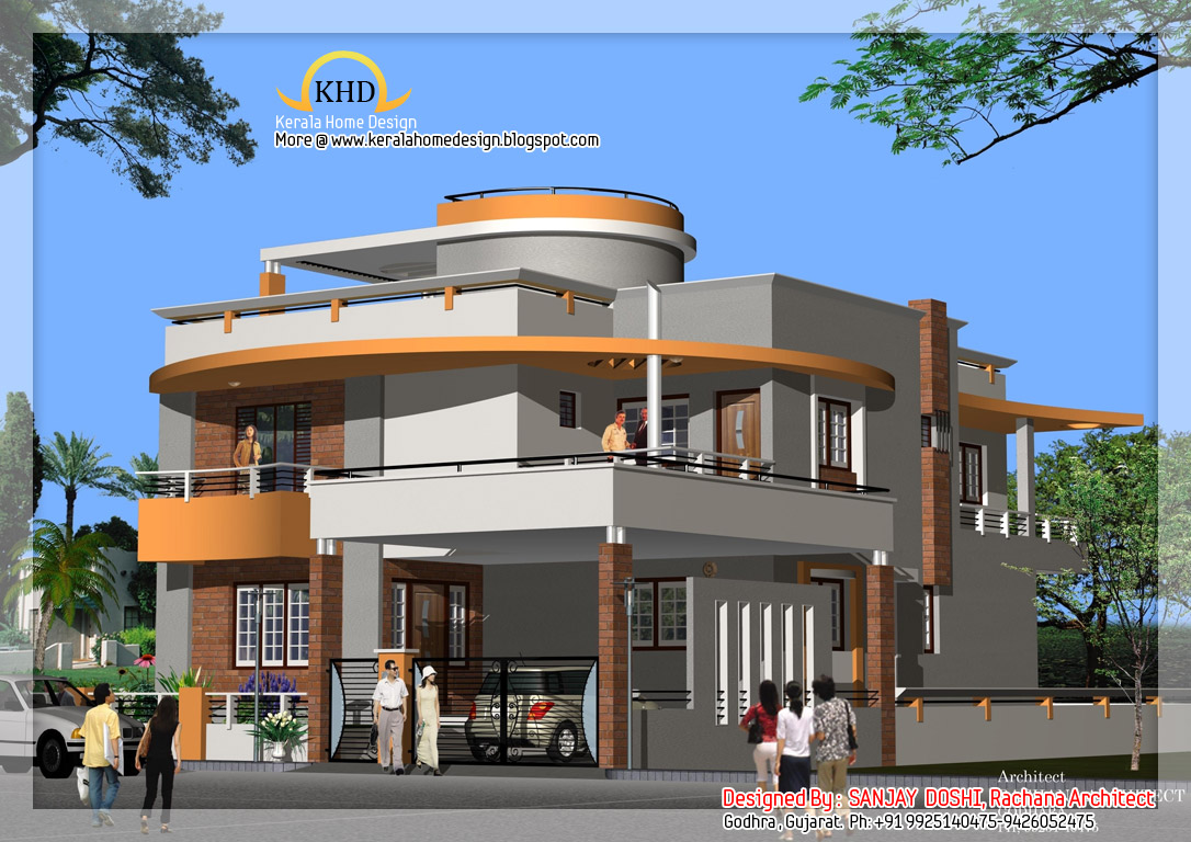 Duplex house plan and elevation kerala home design and for Indian house floor plans free