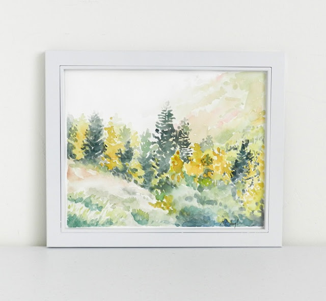 Watercolor fall landscape Painting by Elise Engh- Grow Creative Blog