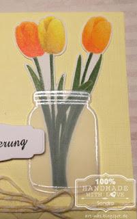 Nahaufnahme der colorierten Tulpen von clearly besotted